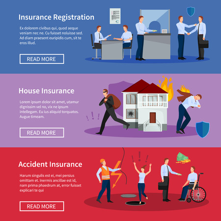 family policy: Personal and house insurance banner set with fire theft accidents and workplace injuries isolated vector illustration
