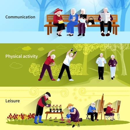 elderly people: Elderly People Banners Set. Elderly People Vector Illustration. Elderly People Concept. Elderly People Flat Horizontal Banners. Elderly People Decorative Illustration. Elderly People Symbols. People Flat Isolated Set.