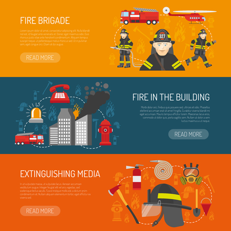 information  isolated: Firefighters 3 flat horizontal banners webpage for information on fire alarm in building abstract isolated vector illustration
