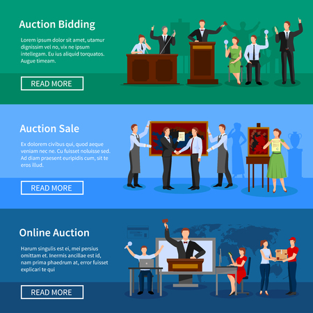 auctioneer: Upcoming online auctions bidding and sale information 3 flat horizontal banners webpage design abstract isolated vector illustration Illustration