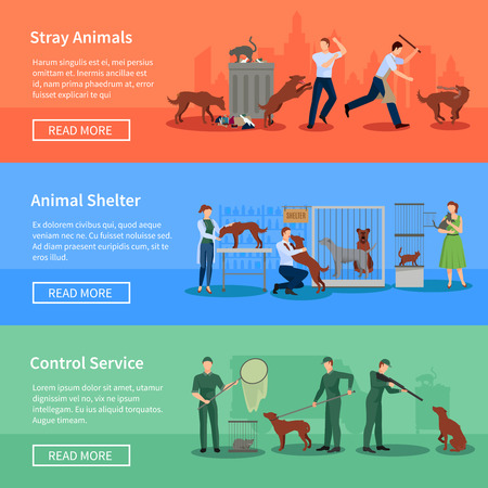 stray: Stray animals problems 3 flat horizontal banners set webpage design with animal shelters abstract isolated vector illustration Illustration