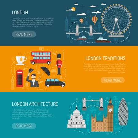 traditions: Online information on london architecture and traditions 3 flat horizontal banners set design abstract isolated vector illustration