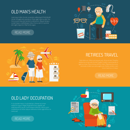 seniors: Old people daily life and health issues 3 flat horizontal banners webpage design abstract isolated vector illustration