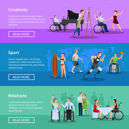 3 persons: Disabled persons full life online information 3 flat horizontal banners set webpage design abstract isolated vector illustration