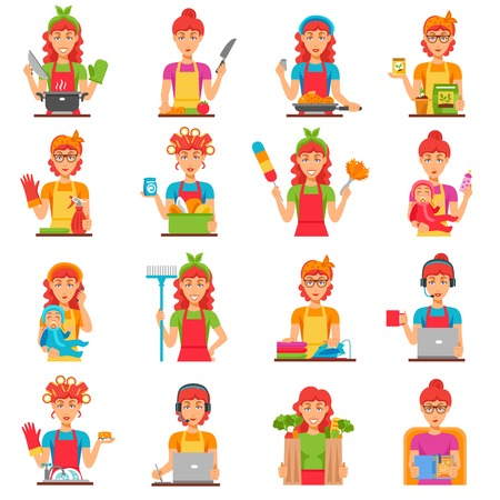 Housewife flat color icons set with women doing housework so as cleaning cooking washing babysitting isolated vector illustration Illustration