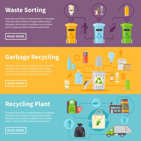 cleaning planet: Recycling Flat Concept. Garbage Horizontal Banners. Recycling Vector Illustration. Garbage Recycling Set. Recycling Design Symbols. Recycling Elements Collection.