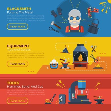 forging: Blacksmith horizontal banners with advertising of equipment for forging welding molding metal vector illustration