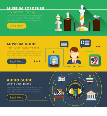 museum: Museum horizontal banner set with examples of exhibit guide service and exhibition organization vector illustration Illustration