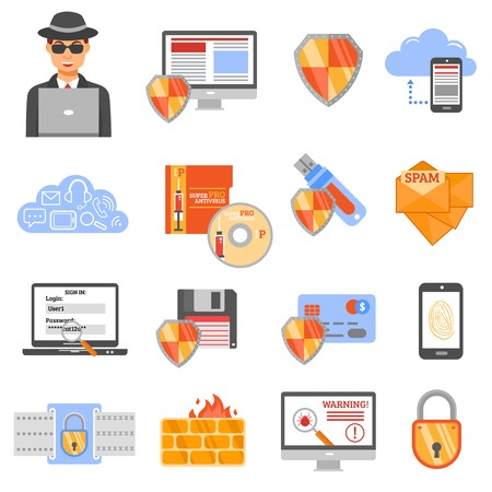threat: Network security isolated flat color icons with antivirus disk drive firewall protection spam shield and padlock symbols vector illustration
