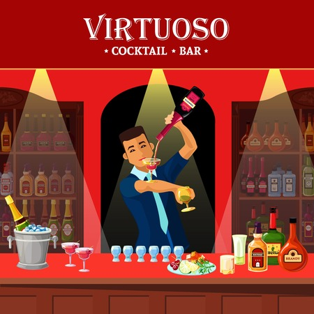 barmen: Original design flat illustration showing virtuoso barmen at cocktail bar counter vector illustration
