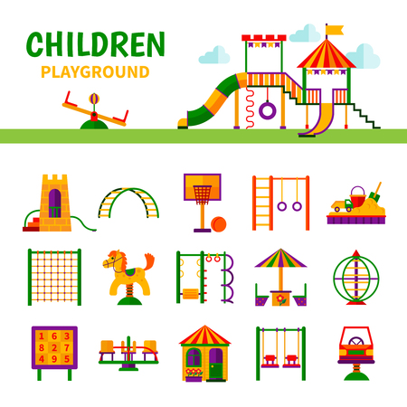 equipment: Color icons depicting different equipment children playground with title vector illustration