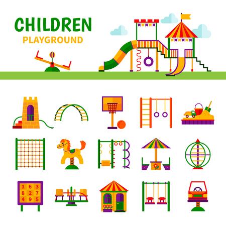 aparatos electricos: Los iconos de color que representan diferentes equipos de juegos para niños con la ilustración del vector del título Vectores