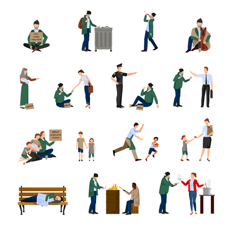 homeless children: Homeless people icons set begging on the streets and survive in harsh conditions vector illustration