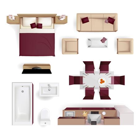 manzara: Modern apartman oturma odası yatak odası ve banyo mobilyaları tasarım öğeleri üstten görünüm görüntü gerçekçi vektör çizim Çizim
