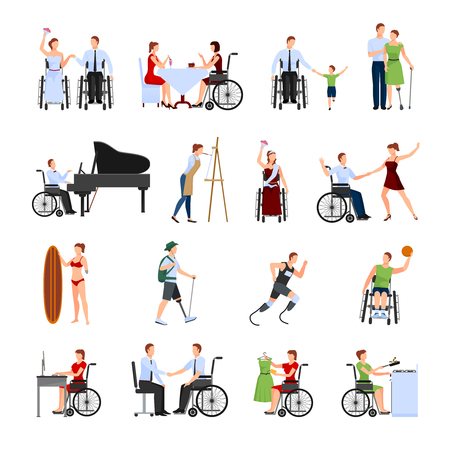 active life: Disabled people leading full active creative life flat icons collection with paralympics runner abstract isolated vector illustration Illustration
