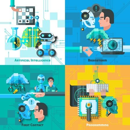 Iconos del concepto de inteligencia artificial se establece con los primeros símbolos de contacto ilustración del vector aislado plana