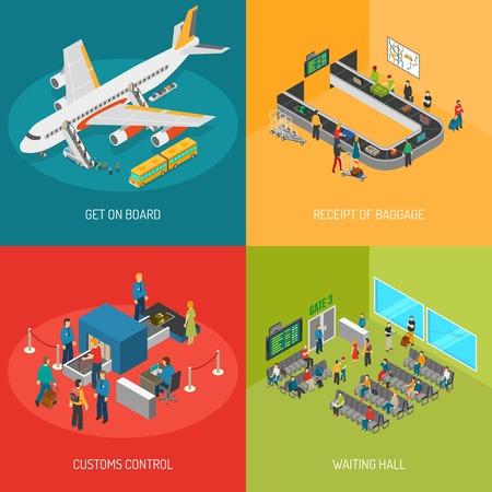Aeropuerto imágenes 2x2 presentando llegar a bordo de recepción de control aduanero de equipaje y sala de espera ilustración isométrica del vector