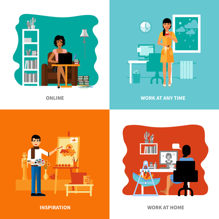 freelancers: Different possibilities of freelancers set includes inspiration work at home online at any time isolated vector illustration