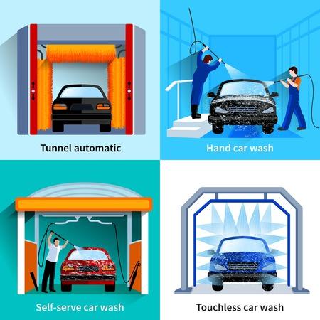 洗車センター自動タッチレスとセルフ サービス設備 4 フラット アイコン正方形組成分離された抽象的なベクトル図