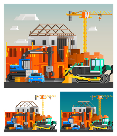 orthogonal: Construction and machines orthogonal compositions set with crane and cars flat isolated vector illustration Illustration