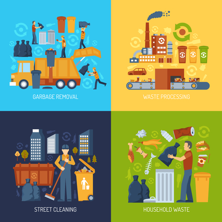 garbage collection: Color flat concept showing garbage collection and waste processing vector illustration