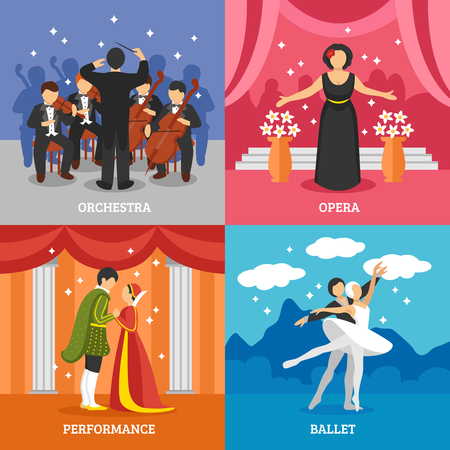 Theatrical stage 2x2 design concept set of dramatic performance ballet opera and symphonic orchestra with conductor flat vector illustration