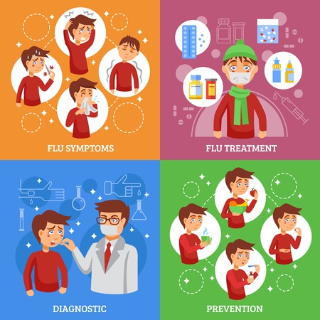 Los síntomas de la gripe concepto de prevención de diagnóstico y tratamiento 4 iconos planos elementos infográficos cuadrado ilustración del cartel del extracto del vector