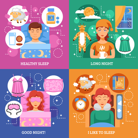 sleeping pills: Healthy bedroom for long sleep tips 4 flat icons square composition infographic elements poster abstract vector illustration
