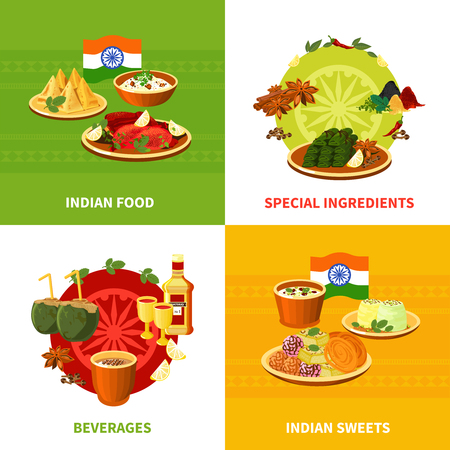 indian food: Indian national food concept 4 flat icons square banner with traditional spicy ingredients abstract isolated vector illustration