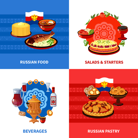 russian food: Russian traditional food concept 4 flat icons square composition banner with salads and starters abstract isolated vector illustration