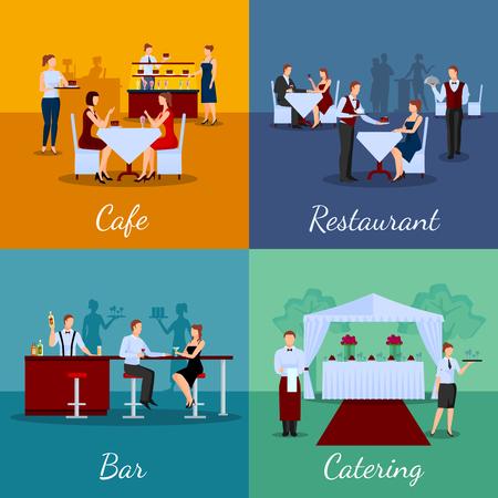 Catering concept van pictogrammen die met cafe en de bar symbolen platte geïsoleerde vector illustratie Stock Illustratie