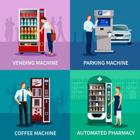 Automaat begrip iconen set met parkeerplaats en koffiemachines vlakke geïsoleerde vector illustratie