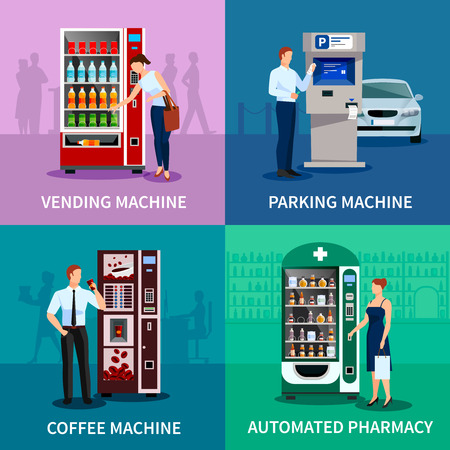 Vending machine concept icons set with parking and coffee machines flat isolated vector illustration Vectores