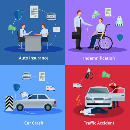 traffic accident: Auto insurance concept with car crash traffic accident and compensation isolated vector illustration