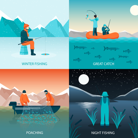 fisherman boat: Fishing 2x2 design concept flat square icons set with winter fishing great catch poaching and night fishing isolated vector illustration