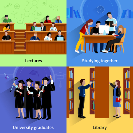 listening: Students 2x2 flat color design concept with young people studying in library in auditorium and group of university graduates vector illustration Illustration