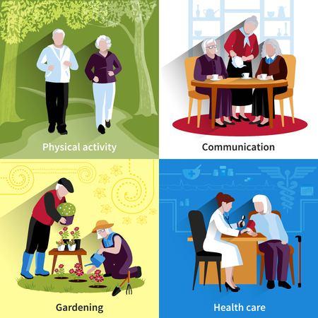 Ältere Menschen Icons Set. Ältere Menschen Vektor-Illustration. Ältere Menschen Konzept. Ältere Menschen Wohnung Set. Ältere Menschen Dekorative Illustration. Ältere Menschen Symbole. Menschen isoliert Set.