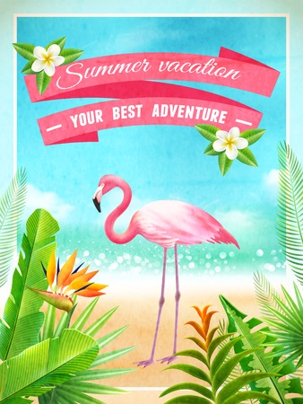 opulent: Exotic beach paradise vacation advertisement poster with pink flamingo bird and tropical plants foliage abstract vector illustration