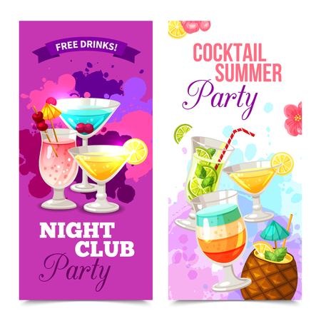 Bright color vertical banners of cocktail party in night club vector illustration