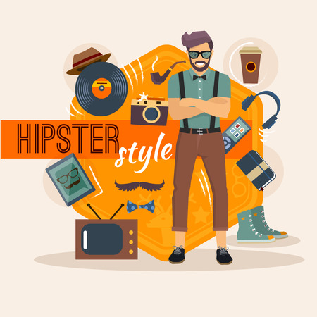accessory: Hipster character pack for geek man with fashion accessory and objects vector illustration