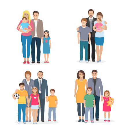 father and son: Flat composition 2x2 depicting big happy family with white background vector illustration