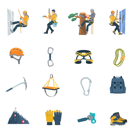 harness: Color flat icons set of climbing equipment ofr industrial alpinism vector illustration