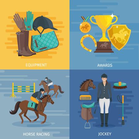 design di colore piatto composizione 2x2 raffigurante concetto di cavalli da corsa attrezzature equestri premi illustrazione vettoriale fantino