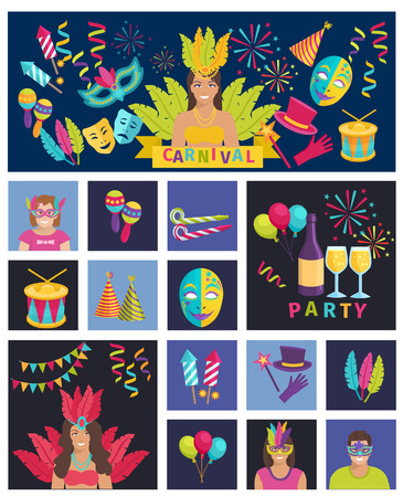 maracas: Carnival Icon Flat Vector Illustration Composition Poster