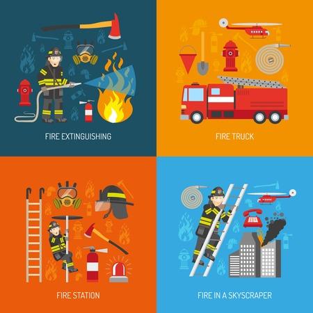 Brandweerlieden werken concept van 4 vlakke pictogrammen vierkante samenstelling banner met brandweerkazerne apparatuur abstract geïsoleerde vector illustratie