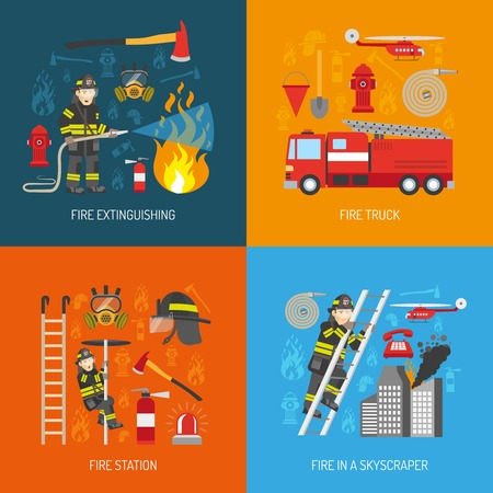 Firefighters work concept 4 flat icons square composition banner with fire station equipment abstract isolated vector illustration Иллюстрация