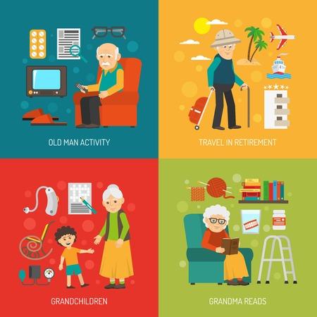 Oude mensen pensioen leven 4 vlakke pictogrammen vierkante poster met kleinkinderen en reizen abstract geïsoleerde vector illustratie