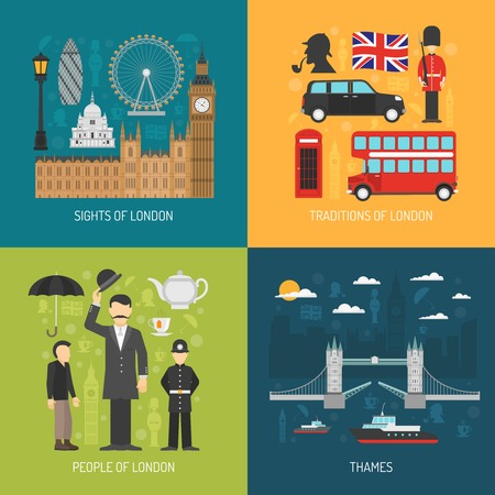 palace of westminster: London city symbols landmarks and traditions for travelers 4 flat icons composition banner abstract isolated vector illustration Illustration