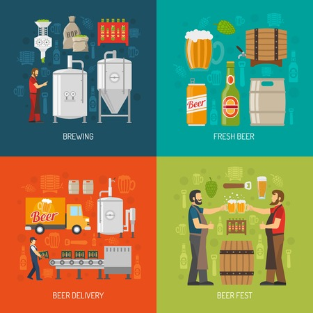 brewery: Brewery Flat Concept. Brewery Icons Set. Brewery Vector Illustration. Brewery And Beer Symbols. Brewery Design Set. Brewery Elements Collection.