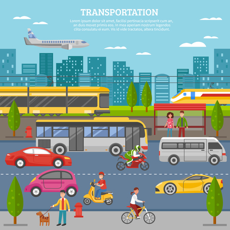 individual: Transport in city poster with people and movement of airplane train tram bus individual vehicles vector illustration